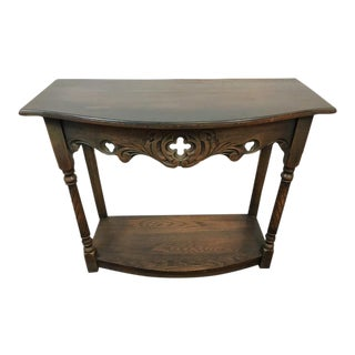 Vintage Carved & Stained Oak Quatrefoil Embellished Console Table
