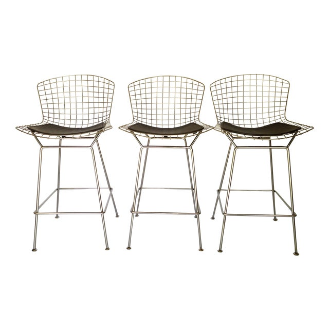 bertoia style bar stools set of 3 chairish. Black Bedroom Furniture Sets. Home Design Ideas