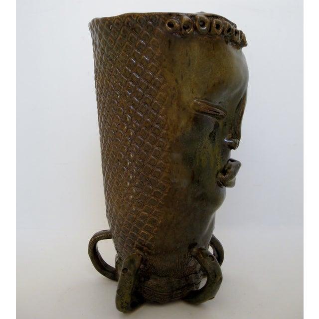 Olive & Brown Artisan Ceramic Vase - Image 6 of 8