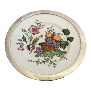 Antique Spode Bird Plate With Sterling Silver Rim