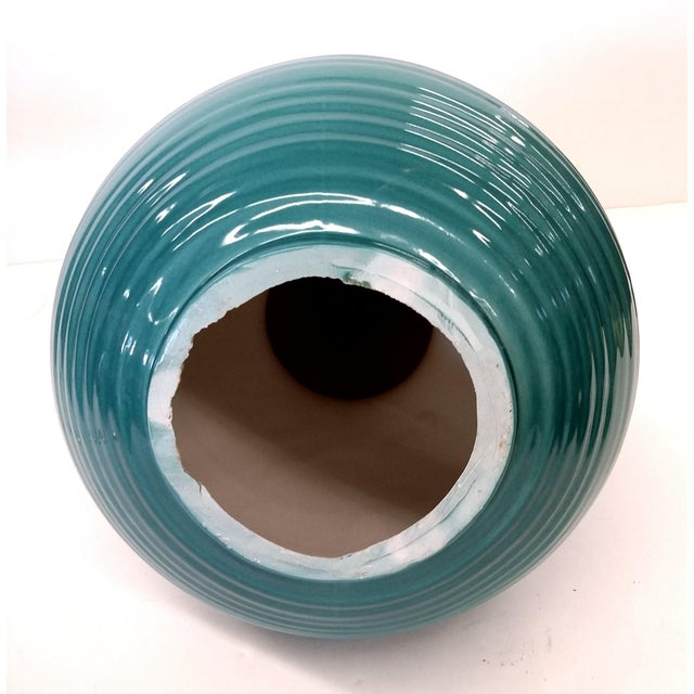 Transitional Turquoise Ribbed Custom Lamp Base - Image 7 of 11