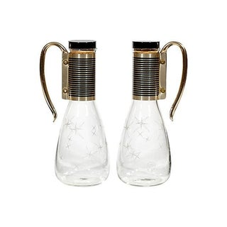 1950s Atomic Glass Carafes - Pair