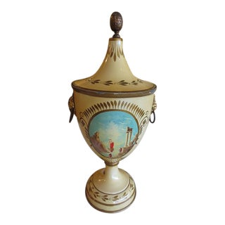 Early 20th Century French Paninted & Enameled Urn w/ Lid