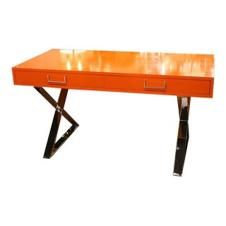 Milo Baughman Orange Lacquered Campaign Desk