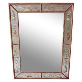 1940s Chinoiserie Faux Bamboo Églomisé Mirror