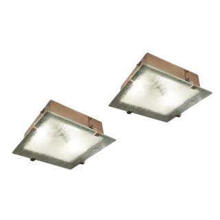 Pair of Mid-Century Flush Mounts with Etched Glass