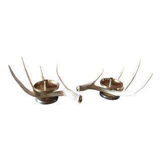 Brass & Antler Candleholders - a Pair
