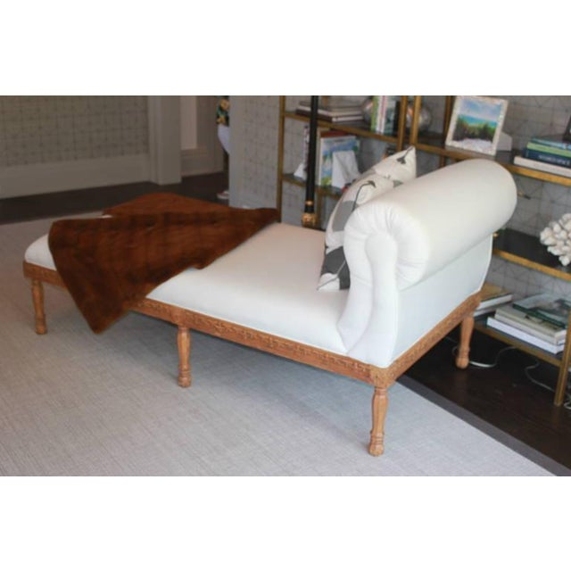 1940s carved wooden frame chaise chairish for Chaise 1940