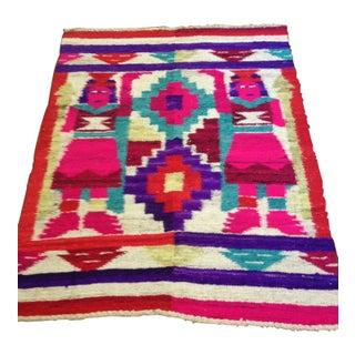 "1960s Hand Loomed Peruvian Wool Rug - 4'3"" x 6'3"""
