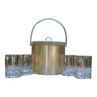 George Briard Ice Bucket & 4 Rocks Glasses