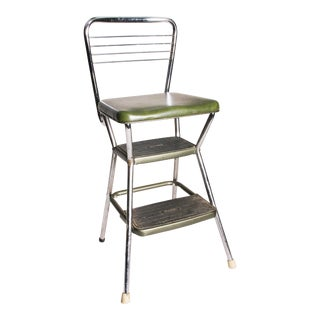 Mid-Century Green Vinyl Chrome Cosco Step Stool