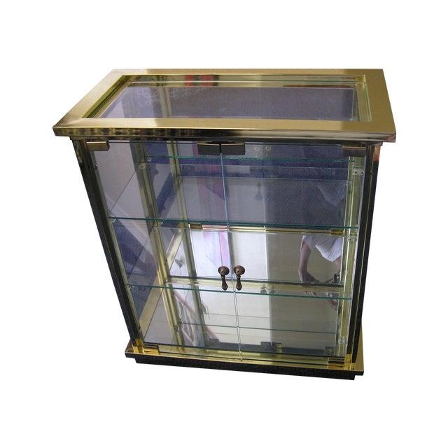 Regency Style Brass Glass Curio Cabinet Chairish