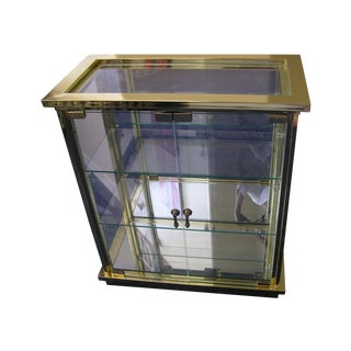 Regency Style Brass & Glass Curio Cabinet