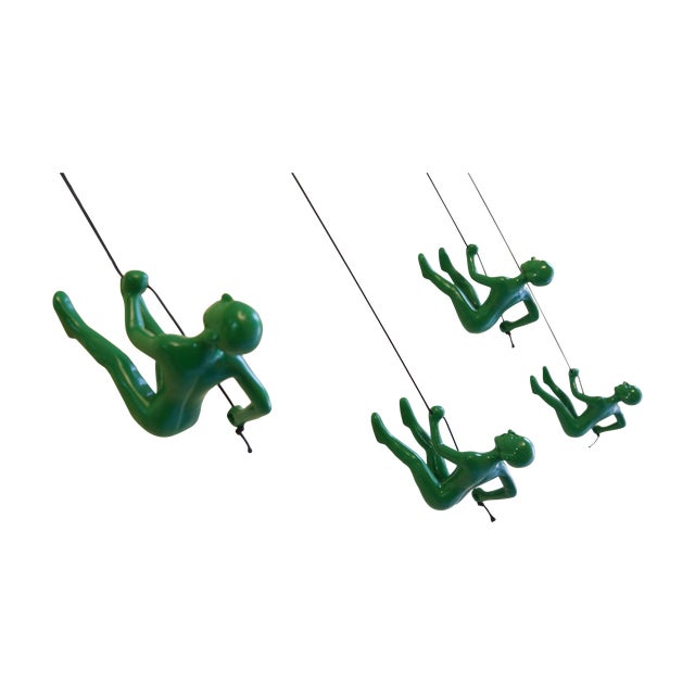 Green Position 2 Climbing Man Wall Art - Set of 4 - Image 1 of 5