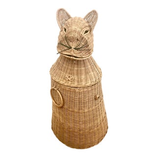 Wicker Rattan Cat Storage Basket