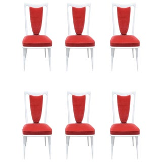 Set of Six French Art Deco White Lacquered Dining Chairs, circa 1940s
