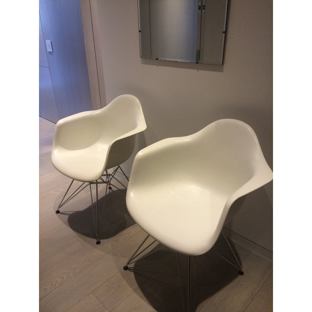 Eames White Molded Armchairs - A Pair - Image 8 of 9