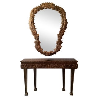 French Art Deco Gold Console Table & Mirror