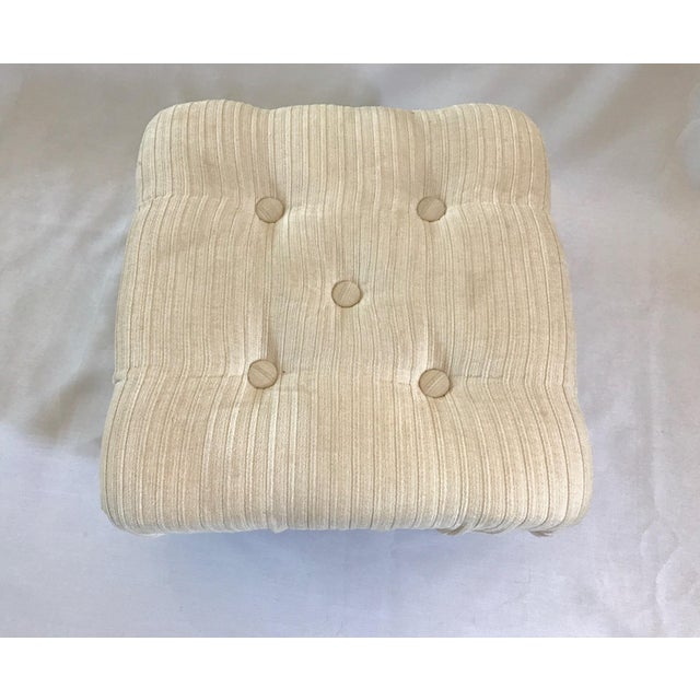 Ethan Allen Petite Crème White Tufted Velvet Ottoman With Brass Nailheads - Image 5 of 7