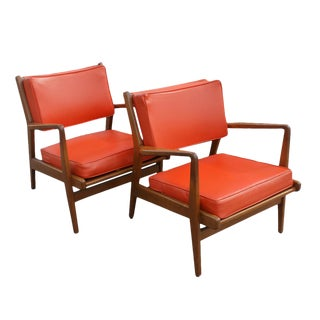 Vintage Jens Risom Orange Side Chairs - A Pair