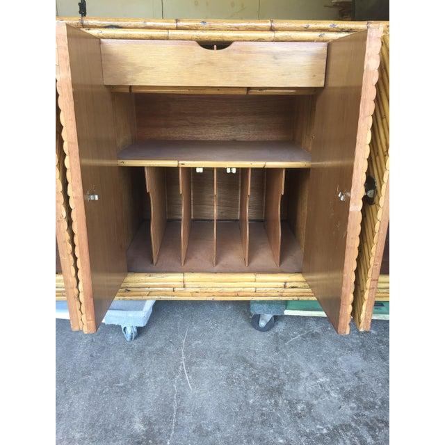 Vintage Split Bamboo Display Cabinet - Image 7 of 11