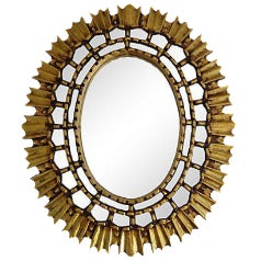 Oval Giltwood Sunburst Mirror