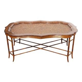 Maitland Smith Rattan Leather Coffee Table