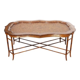 Maitland-Smith Rattan & Leather Coffee Table