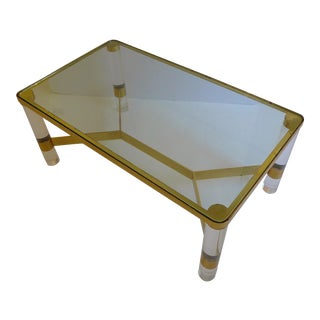 Karl Springer Lucite and Brass Cocktail Table