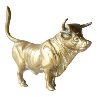 Mid-Century Brass Bull Figurine
