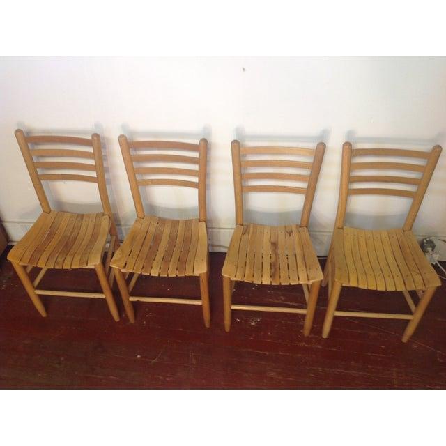 Vintage Sparrow Slat Ladder Back Chairs - Set of 4 - Image 6 of 9