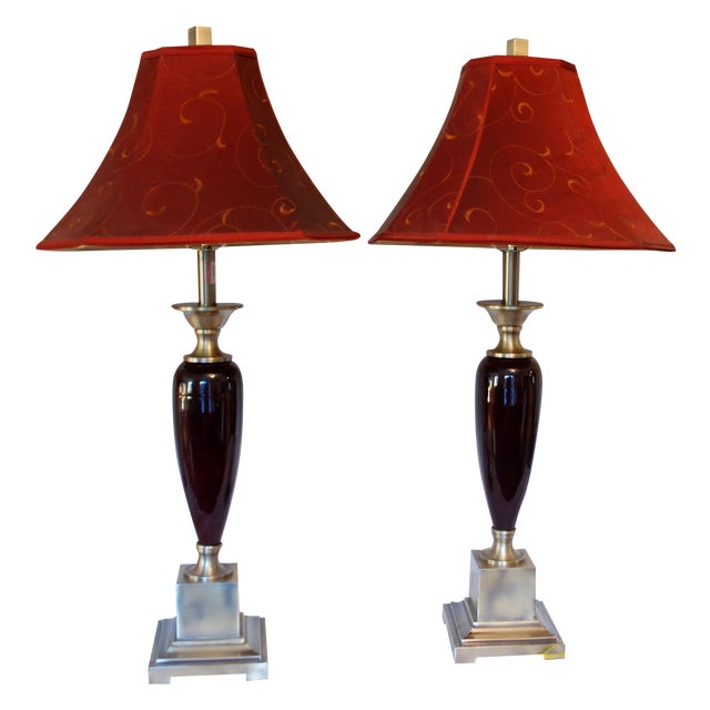 Brushed Steel Transitional Maroon Lamps - Image 1 of 7