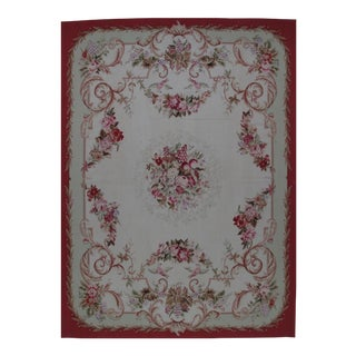 French Aubusson Design Hand Woven Wool Rug - 9' X 12'