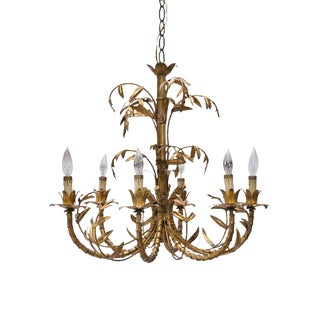 French Gilt Bamboo Chandelier