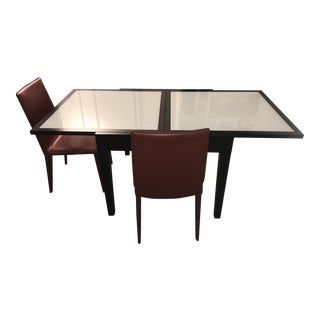 Modular 1 Dining Table & 2 Red Leather Chairs Set