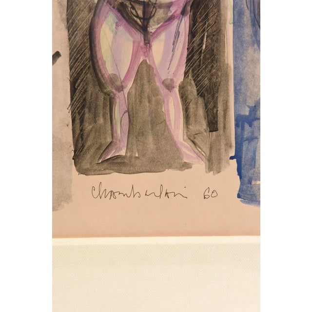 Image of Signed Chamberlin Vintage One of Kind Nude/Abstract/ Figure Watercolor Custom Framed