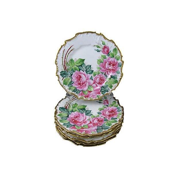 Gold Rimmed Porcelain Rose Plates- Set of 6 - Image 1 of 5