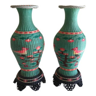 Asian Chinoiserie Woven Wrapped Vases - A Pair