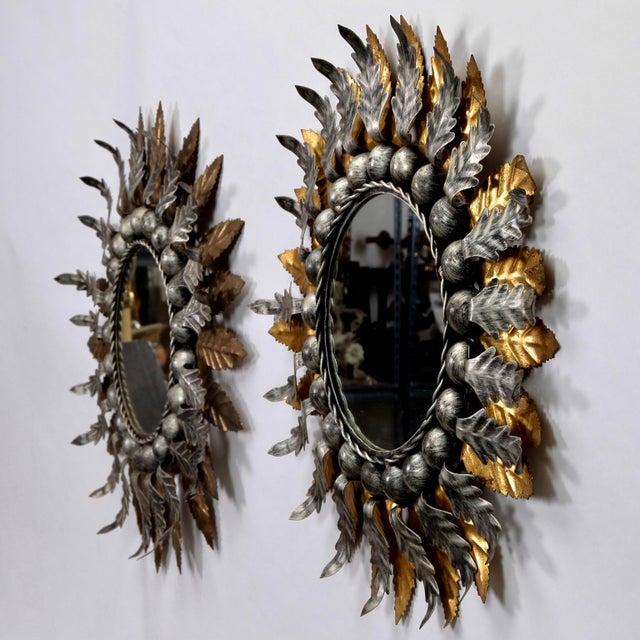 Pair Mid Century Spanish Gilt and Silver Metal Sunburst Mirrors - Image 5 of 9
