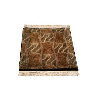 "1'6"" X 1'6"" Modern Wool & Silk Handmade Knotted Rug - Size Cat. 2x2 2x3"