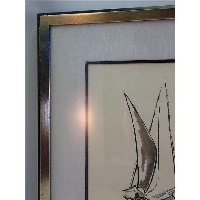 Black Ink Original Signed Sailboat Painting - Image 8 of 10
