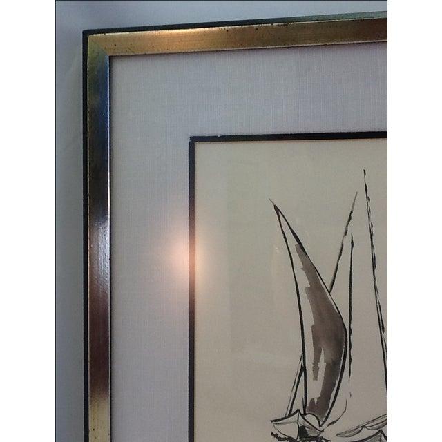 Mid Century Sailboat Painting. Black Ink Original Signed Sailboat Painting - Image 8 of 10