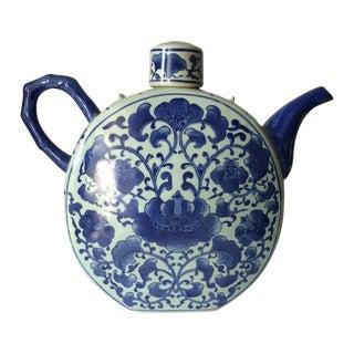 White & Blue Chinoiserie Tea Pot