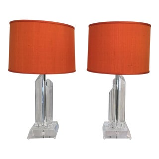 Mid-Century Acrylic Lamps - a Pair