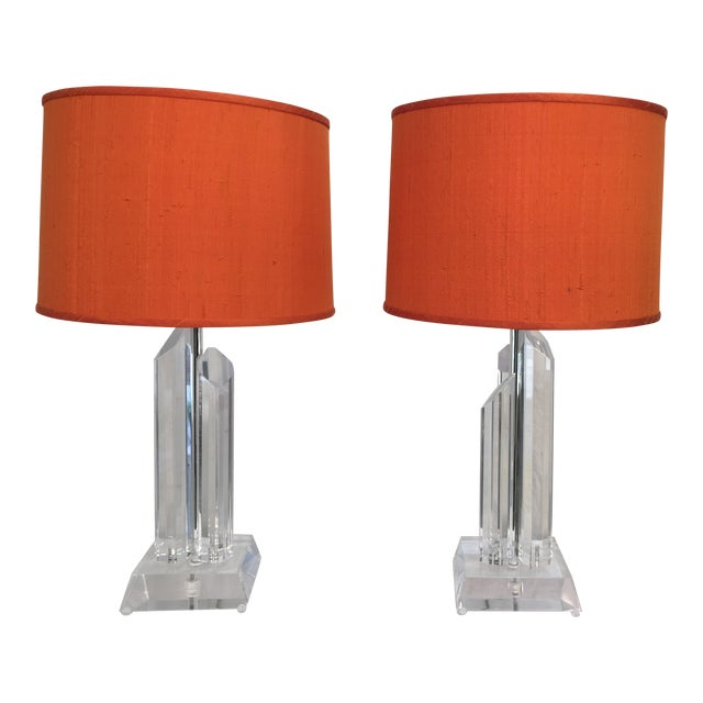 Mid-Century Acrylic Lamps - a Pair - Image 1 of 11
