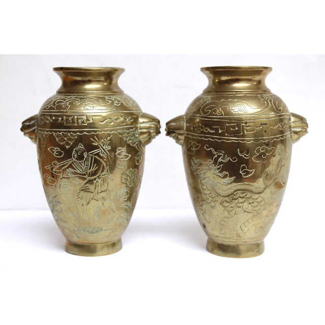 Image of Asian-Style Etched Brass Vases - A Pair