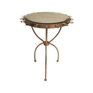 Brass and Crystal Point Tripod Table