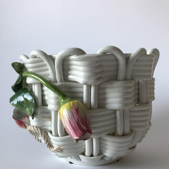 Majolica Basketweave Tulip Planter - Image 2 of 10