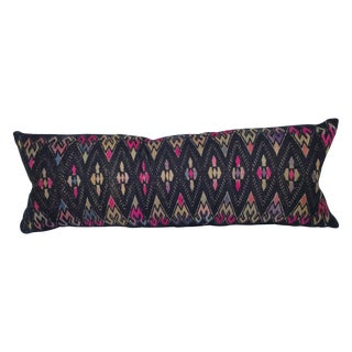 Hand Embroidered Purple Silk Pillow