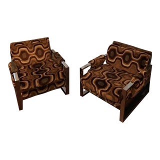 Geometric Velvet Club Chairs - A Pair